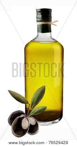 Olive oil bottle on white with clipping path