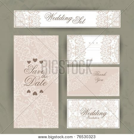 Wedding set. Wedding invitation, thank you card, save the date cards. RSVP card