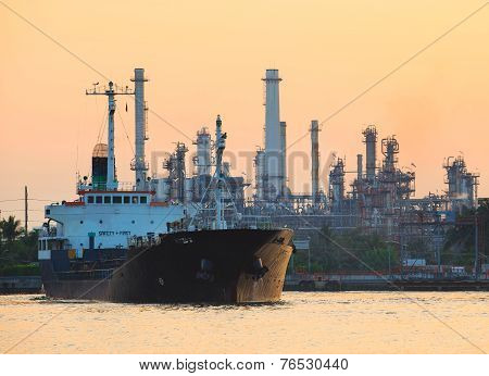 Petroleum Gas Container Ship And Oil Refinery Plant Industry Estate Behind Use For Petrochemical Ind