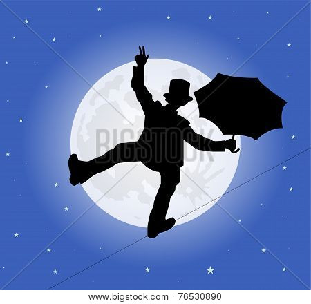 silhouette of a tightrope walker