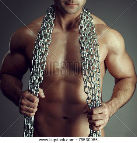Sexy Man Body With Chain