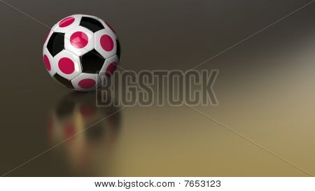 Glossy Japan Soccer Ball On Golden Metal