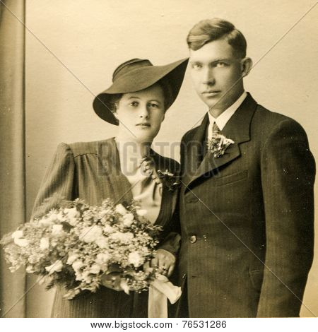 GERMANY, JULY 25, 1939: Vintage photo of newlyweds