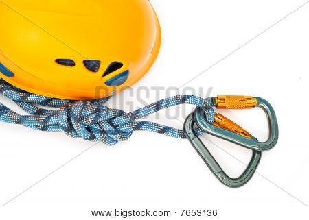 Carabiners, Orange Helmet And Rope
