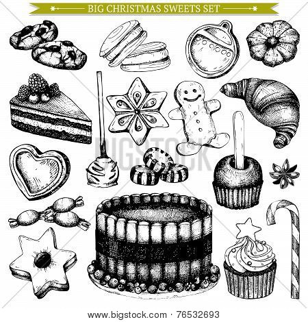 Christmas Vintage bakery illustration.