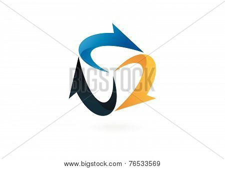 arrow triangle business loop logo design vectorled