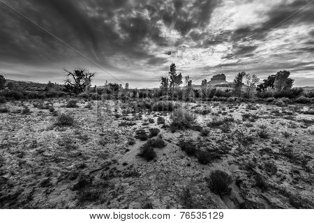 Wild Horse Butte With Dramatic Clouds Black And White Horizontal