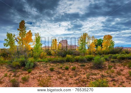 Wild Horse Butte Fall Colors And Beautiful Dramatic Sky Utah Landscape