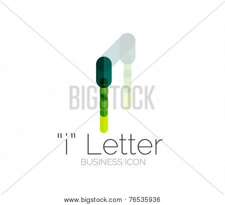 I letter logo, minimal line design, business icon