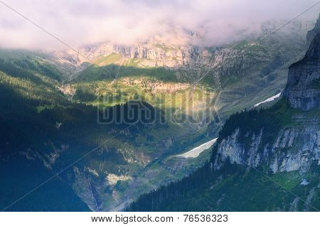 Mountain Valley in Swiss Alps