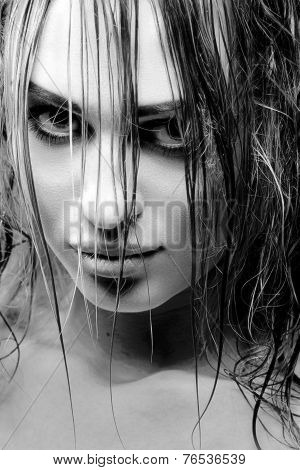 Close up portrait with wet hair bw