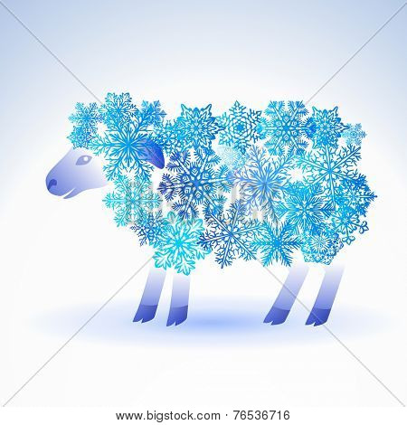 sheep from snowflakes - a symbol of new year 2015
