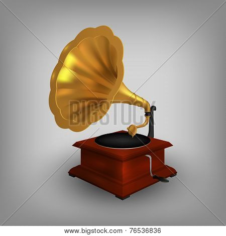 retro old gramophone with horn