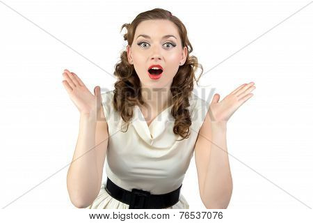 Photo of surprised woman with open mouth