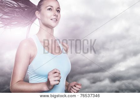 Running young woman