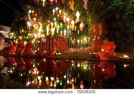 Chiang Mai Thailand-november 7 : Loy Krathong Festival In Chiangmai.tradition Al Monk Lights Floatin