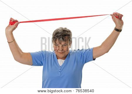 Senior Woman With Rubber Band