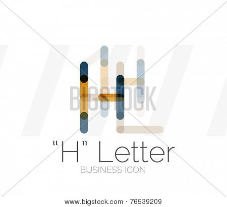 H letter logo, minimal line design, business icon