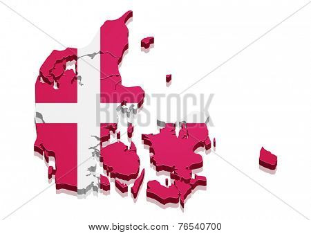 detailed illustration of a 3d Map of Denmark with flag, eps10 vector