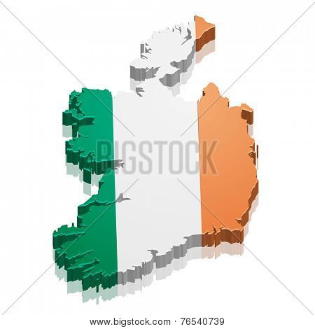 detailed illustration of a map of Ireland with flag, eps10 vector