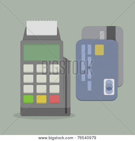 minimalistic illustration of a POS terminal, with credit cards, eps10 vector