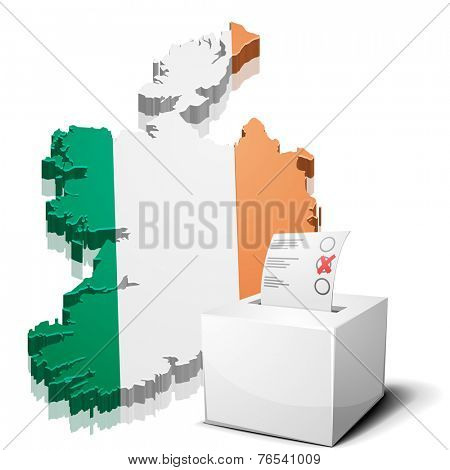 detailed illustration of a ballotbox in front of a map of Ireland, eps10 vector