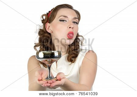 Photo of playful woman with metal snifter