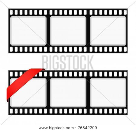 film strip frame background with ribbon