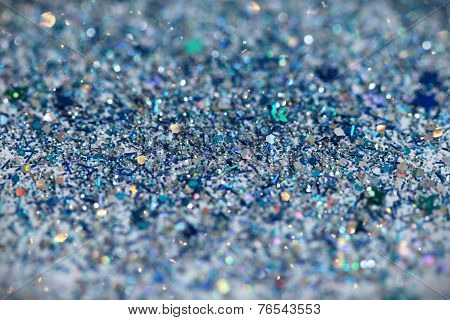 Blue and Silver Frozen Snow Winter Glitter background. Holiday, Christmas, New Year