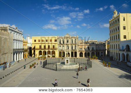 Havana - Dec 3Rd, 2008. View Of Popular Plaza Vieja In Old Havana, Cuba.