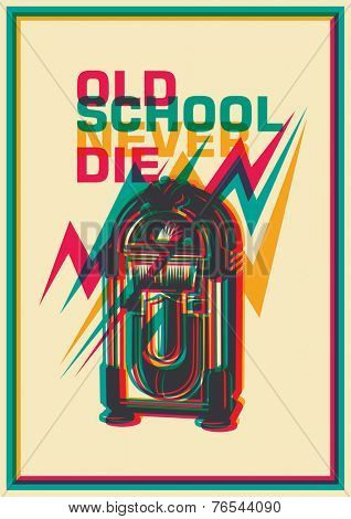 Retro poster with jukebox. Vector illustration.