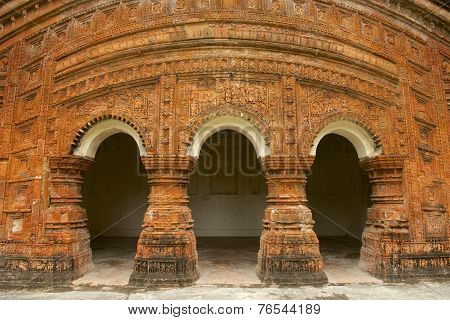 Elaborately terracotta decorated Hindu Temple in Puthia, Bangladesh.