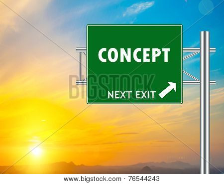 Concept Green Road Sign