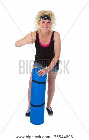 Young Woman With Gym  Mat