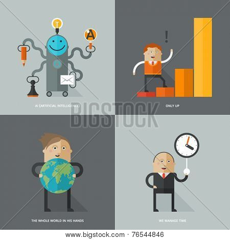 Set of flat design concept images for infographics, business, web, ai, time