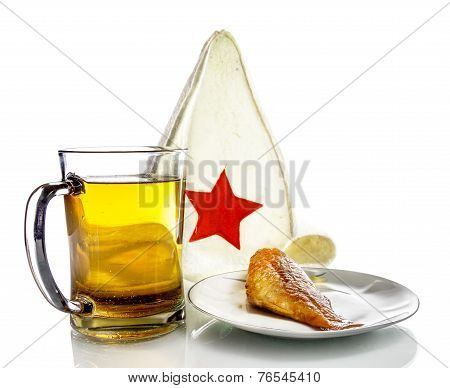 Mug With Beer And Fish On A Plate And A Bathing Cap With Red Star