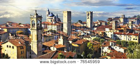 panorama of old Bergamo on sunset, Italy