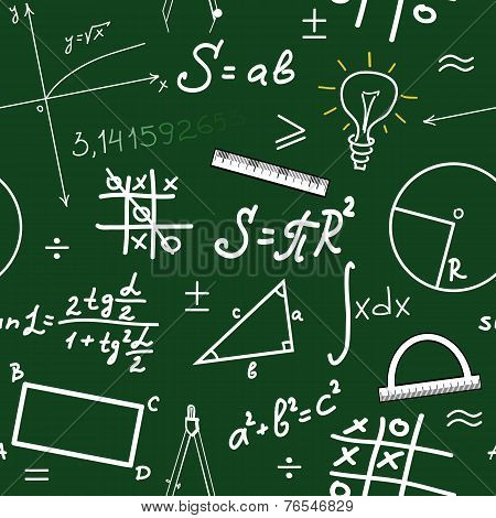 Hand Writing Mathematics Formula On Seamless Blackboard