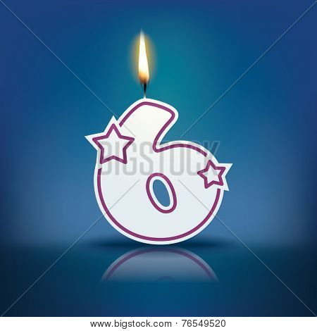 Candle number 6 with flame - eps 10 vector illustration