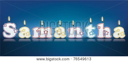 SAMANTHA written with burning candles - vector illustration
