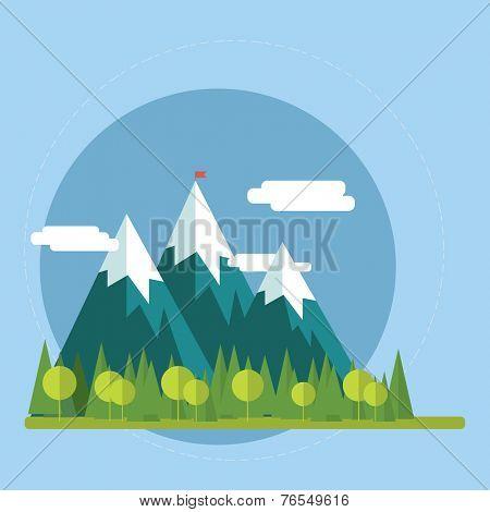 Flat nature landscape illustration - Vector illustration in trendy flat style