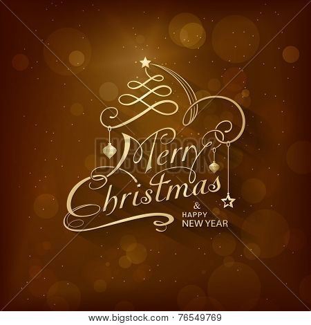 Christmas card with golden lettering Merry Christmas and Happy New Year on dark brown background with Christmas ornaments and blurry light dots. Calligraphy handwriting design background.