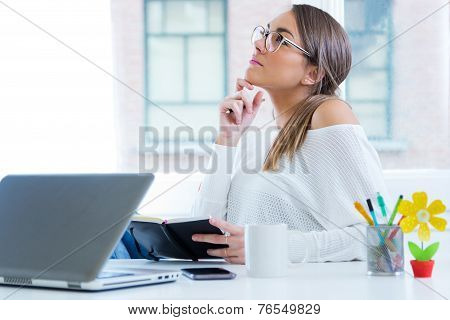 Pretty Young Woman Working In Her Office.