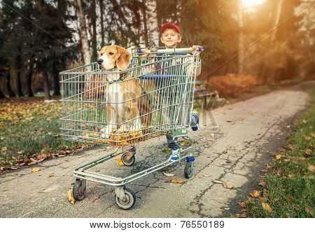 Boy Walk With Dog In Shopping Trail