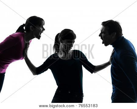 one  family father mother daughter dispute screaming in silhouette studio isolated on white background