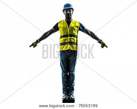 one construction worker signaling with safety vest silhouette isolated in white background