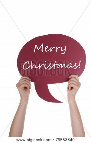Red Speech Balloon With Merry Christmas