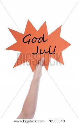 Orange Speech Balloon With Swedish God Jul