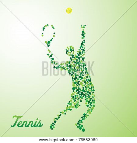 Abstract Tennis Player Kicking The Ball