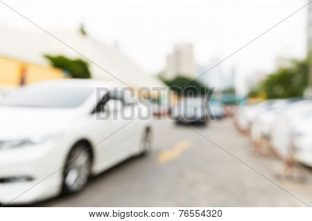 Abstract Blurred Car In Parking Area